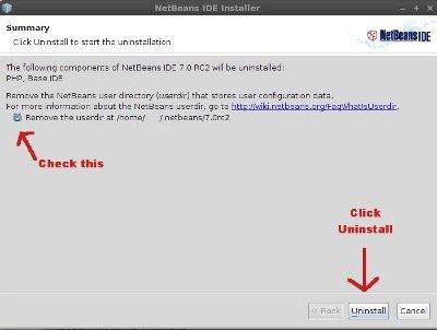 netbeans uninstall GUI popup