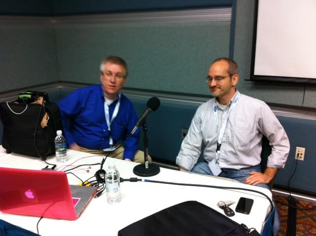 Michael Kimsal from WebDevRadio doing a podcast