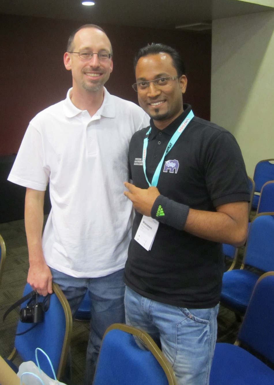 from left to right: PHP Interview With Rob Allen with 7PHP aka Khayrattee