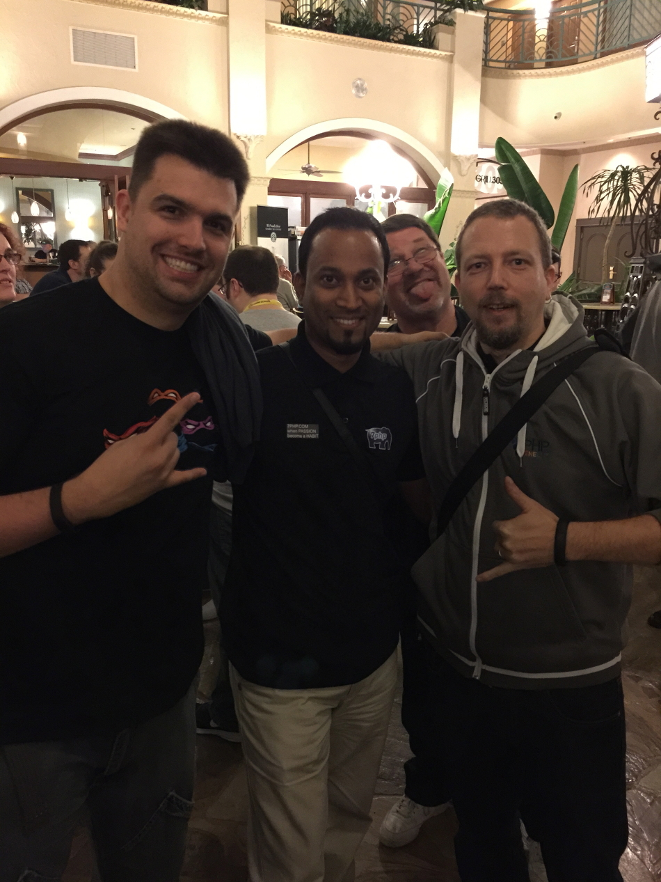 L to R: Rafael Dohms - Khayrattee - Michelangelo at Miami 2015 for SunshinePHP