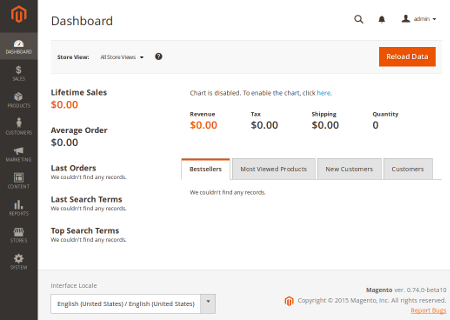 Magento v2 Backend - Dashboard
