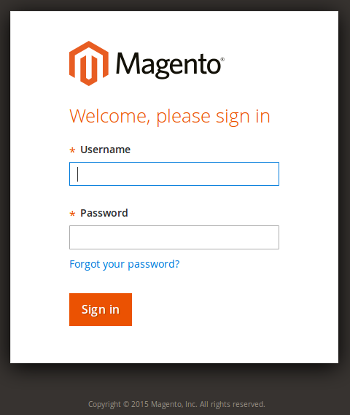 Magento v2 Backend - Login Page